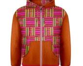 Men's Zipper Hoodie - Pink Kente & Orange Leather