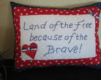 Patriotic Pillow, Land of the Free Pillow! Decorative Pillow, Accent Pillow With Words, Throw Pillow Veteran, Patriotic Decor, July 4 Pillow
