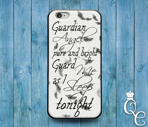 iPhone 4 4s 5 5s 5c SE 6 6s 7 plus iPod Touch 4th 5th 6th Gen Cute Quote Phone Cover White Black Adorable Guardian Angel Case Girly Cool