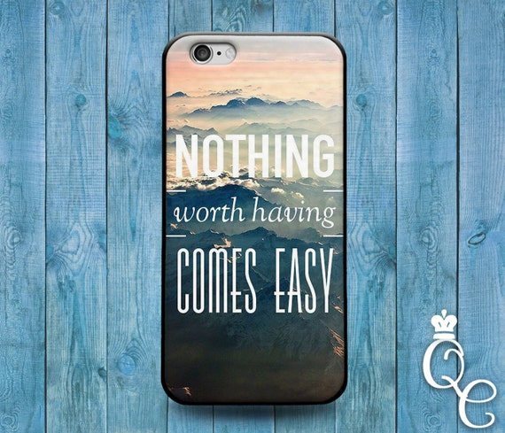 iPhone 4 4s 5 5s 5c SE 6 6s 7 plus iPod Touch 4th 5th 6th Gen Nothing Worth Having Comes Easy Ocean Waves Beach Quote Cover Cute Phone Case