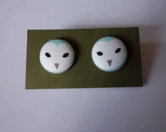 Handmade blue and white owl face print fabric button earrings. Hypo-allergenic nickel-free silver studs