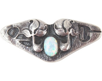 Arts & Crafts Era Sterling Silver Brooch Stylized Flowers with Opal Cabachon