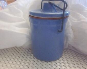 CERAMIC CHEESE JAR  Blue Vintage
