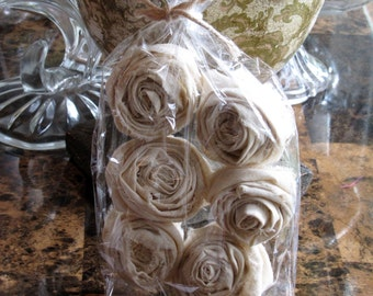 Handmade Cream Fabric Flowers