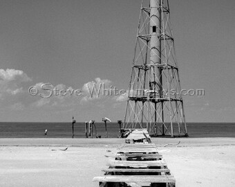 Down the Pier is a black & white giclee fine art photography print of the Chandeleur Islands lighthouse. Coastal art by Steve White