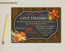 Thanksgiving Invitation, Chevron Invitation, Wood Invitation, Rustic Invitation, Rustic Thanksgiving Invitation, Fall Invitation, Chalkboard