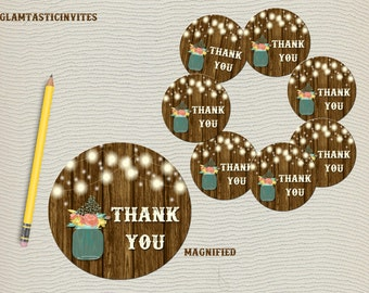 Thank you Tags Printable, Rustic Mason Jar Favor Tags, Digital File, Wedding Thank you Favor tags, Thank you Stickers, Thank You, Rustic DIY