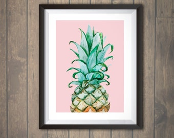 Watercolor Pineapple Print Pineapple Wall Art Pineapple Decor Nursery Wedding Personalized print