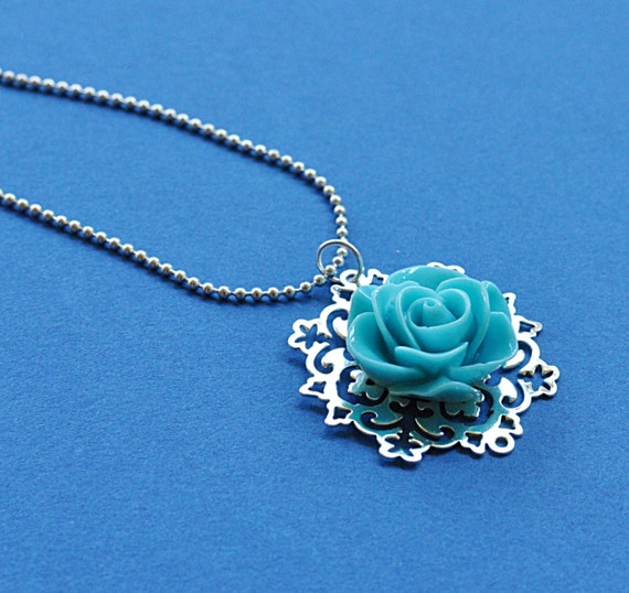 Floral Necklace - Silver with Blue Rose