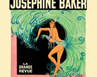 Josephine Baker Casino de Paris Fashion Dance Show Theater Vintage Poster Repro FREE SHIPPING in USA