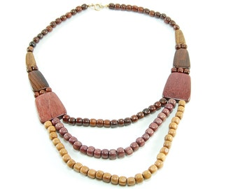 Mixed Tropical Wood Cascade Necklace