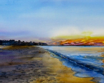 Cape Cod Beaches, Beach Sunset, Beach seascape, 12 x 20 inch print, Cape Cod Sunset, blue, yellow, orange, Cape Cod Bay