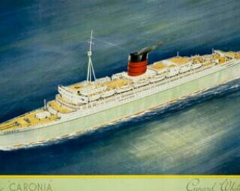 Original Lithograph The New Caronia Cunard White Star, C.F.Hopkinson 50's