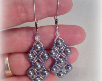 Silver & Blue Diamonds Earrings, Silver and Blue Dangle Earrings, Silver and Blue beaded earrings