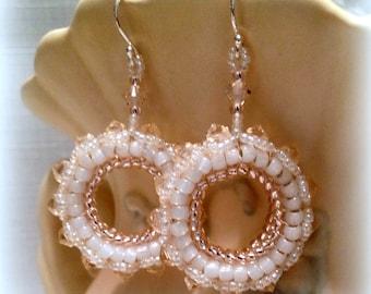 Swarovski Herringbone Hoops - Peach & White Opal, Beaded hoop earrings, Seed Bead and Swarovski crystal earrings