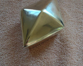 Vintage Brass Rhombus Diamond Shape Trinket Jewelry Box