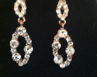 Double Oval Dangle Rhinestone Earrings