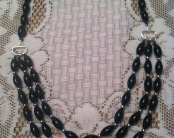 Three Strand Black Beaded Necklace