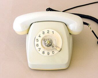 Vintage rotary phone White german rotary phone Retro phone Old telephone Classic desk phone Fetap 61 Dial phone Western germany Photo prop