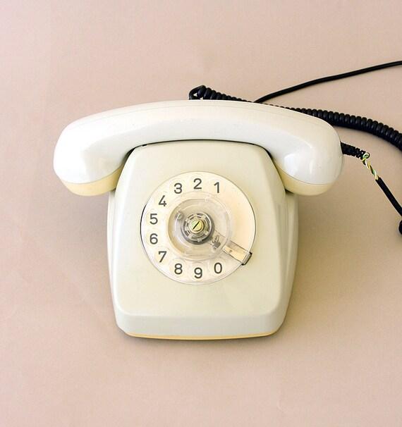 Vintage rotary phone White german rotary phone Retro phone Old telephone Classic desk phone Fetap 61 Dial phone Western germany Photo prop