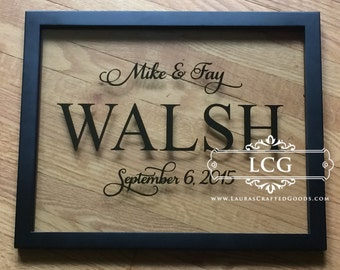 Personalized wedding sign, anniversary gift, engagement gift, wedding gift, floating frame, bridal shower gift, wedding floating frame
