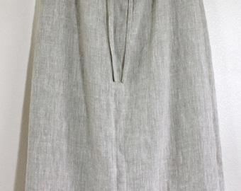 100% Beige Linen Straight Skirt Low-Calf Length for Messianic Hebrew Roots Women - Tabitha Skirt