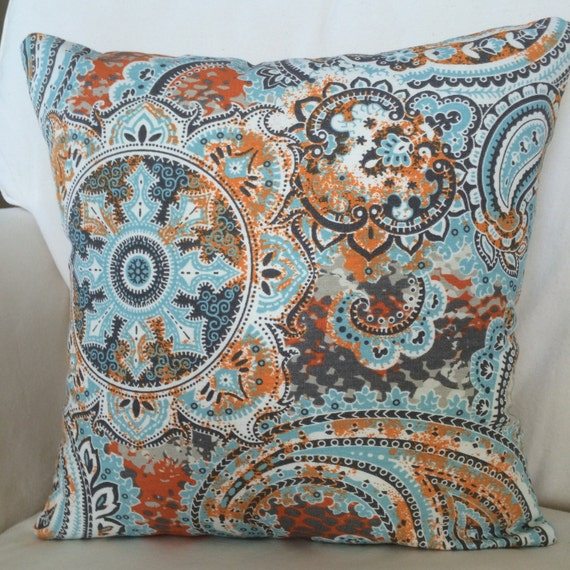 rust orange blue gray paisley throw pillow by marolizanadesigns. Black Bedroom Furniture Sets. Home Design Ideas
