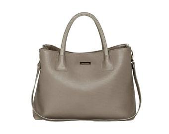 Leather handbag handmade grey HOFFMANN