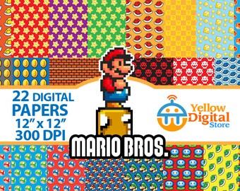 "70% OFF SALE MARIO Bros Digital Paper Pack, Digital Papers, 22 jpg files 12 x 12"" 300 dpi - Instant Download"