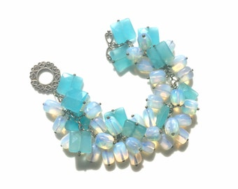 Handmade opalite bracelet, opalite beaded bracelet, turquoise glass bead bracelet, opalite