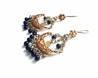 Vintage Enthic Gold Vermeil Gold Onyx Earrings, Chandelier Earrings