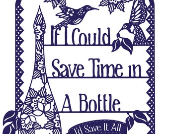 Time In A Bottle Paper Cut PDF Template