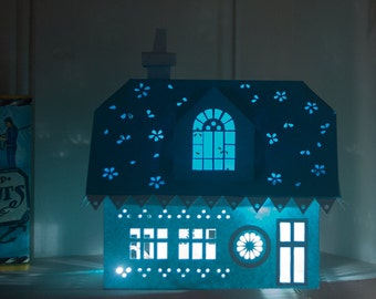 3D Dormer Bungalow Tealight House Cutting Template (SVG)
