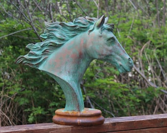 "Patina and Rust Horse bust ""FLAME"""
