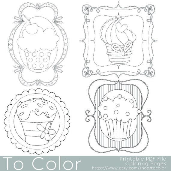 whimsical cupcake coloring pages - photo#5