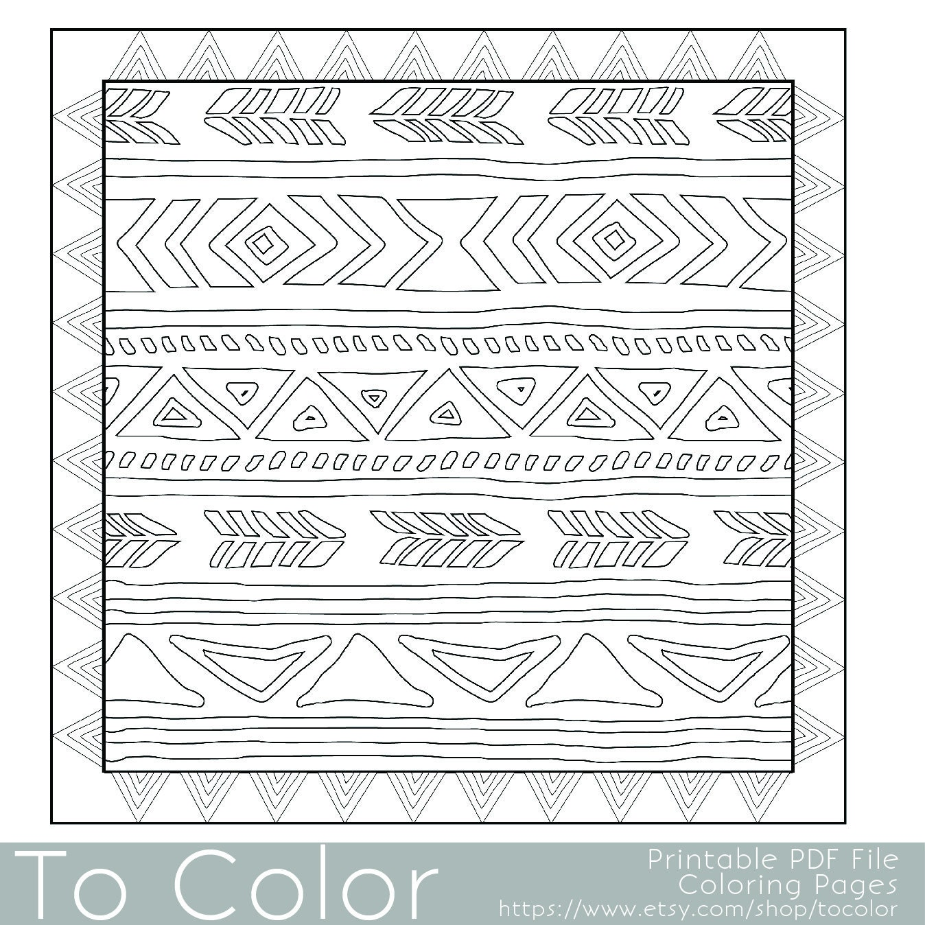 Tribal printable coloring pages for adults geometric for Tribal pattern coloring pages
