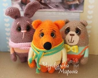 PATTERN Bear, bunny and fox PDF crochet toys pattern