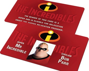 Custom ID Card Badge: The Incredibles, Mr Incredible, Elastigirl, Syndrome, Frozone, Childrens, Kids, Birthday Gift or Christmas Present