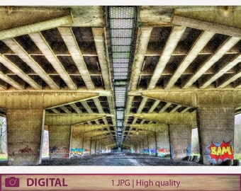 DIGITAL DOWNLOAD Viaduct graffiti photography, bridge HDR fine art, instant jpg urban street color photography printable home decor