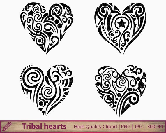 tribal heart clipart abstract tattoos clip art love. Black Bedroom Furniture Sets. Home Design Ideas