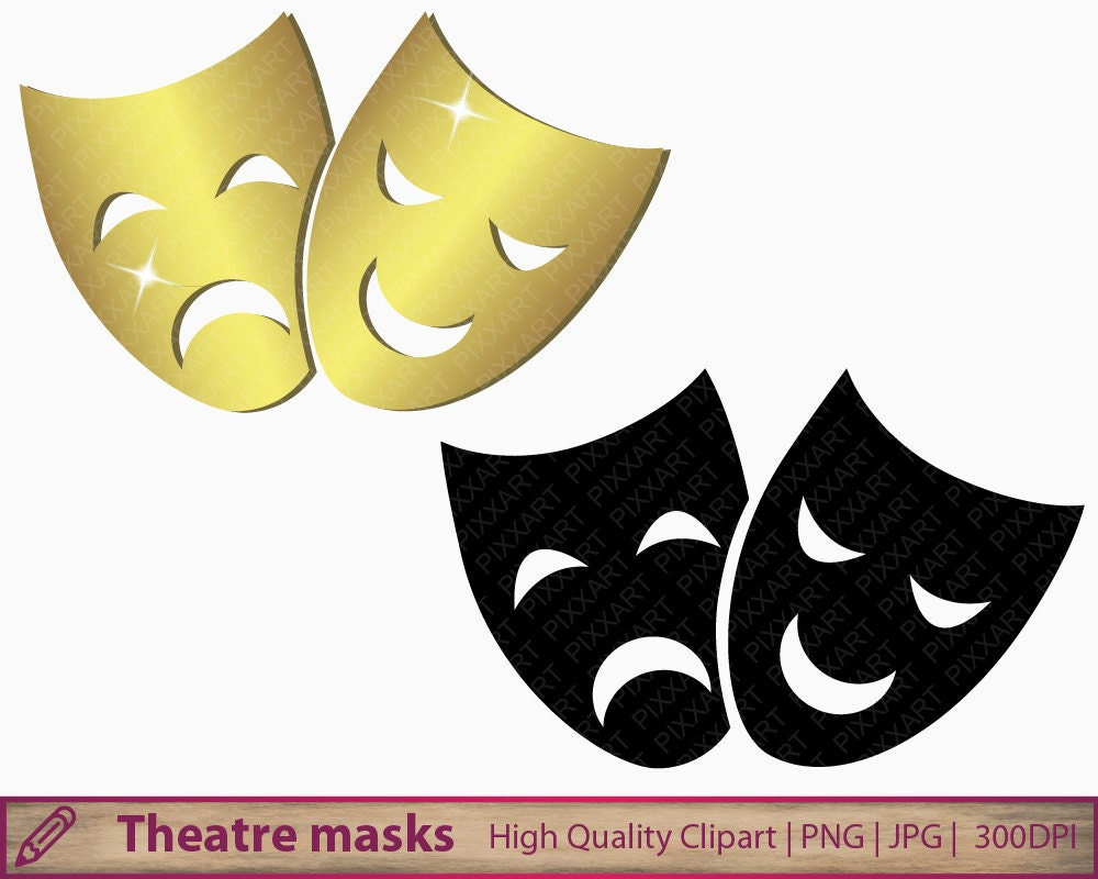 Happy and sad face masks happy and sad face tattoos - Theatre Masks Clip Art Pantomime Clipart Opera Happy Sad Scrapbooking Commercial Use Digital Instant Download Jpg Png 300dpi