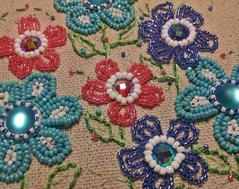 Pink Blue and Turquoise Beaded Flower Hoop