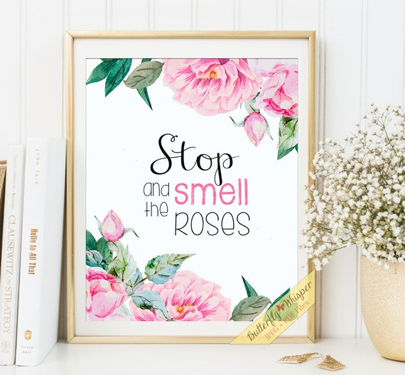 Stop and smell the roses printable framed quotes for home decor wall art decoration sayings for the wall shabby chic flower shop framed art