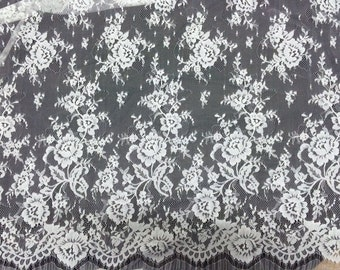 Sell By pc 2015 NEW High Quality Bilateral Eyelash Lace Fabric, French Style Wedding Dress Lace Fabric, Off White Lace Fabric 3 yards