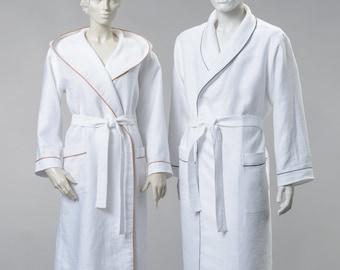 Sauna and Bath Robe 100% Linen White New