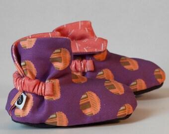 High-Top Purple/Coral Polka Dot Baby Booties