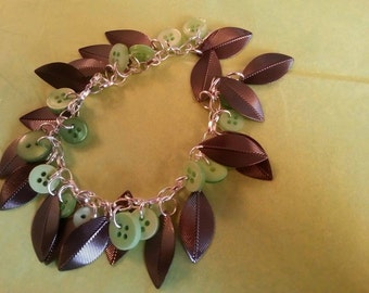 green button and leaf charm bracelet