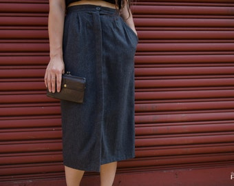 Charcoal Wool Skirt - Size S