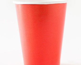 Coral paper Cups - Set of 24. Coral red paper cups.  Coral pink paper cups. Coral partyware.  Coral party decor.  Coral paper party cups