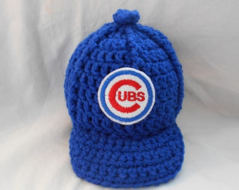 Chicago Cubs Inspired Crochet Baby Hat Baseball Newsboy Cap Hat with Embroidered Logo- Newborn, 0-3 Months, 3-6 Months, 6-12 Months